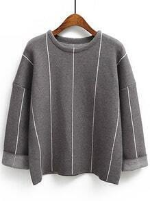 Grey Crew Neck Vertical Stripe Loose Knitwear