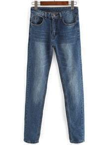 Blue Pockets Bleached Denim Pant