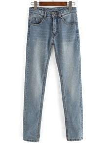Light Blue Pockets Bleached Denim Pant