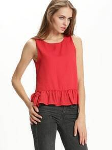 Red Round Neck Ruffle Tank Top