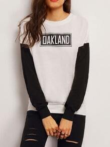 White Black Crew Neck Letters Print Sweatshirt