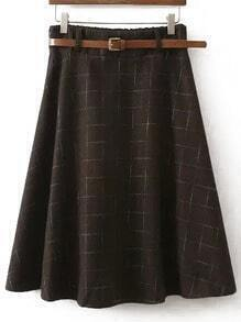 Brown Plaid Midi Skirt
