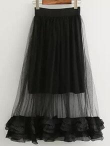 Black Sheer Mesh Ruffle Skirt
