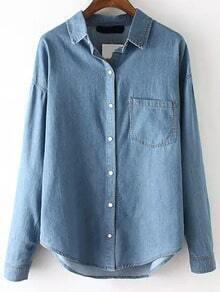Blue Lapel Long Sleeve Pocket Denim Blouse