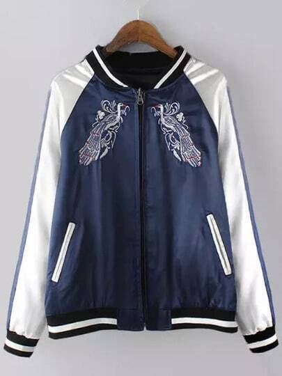 Blue White Zipper Embroidered Loose Jacket