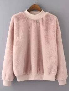 Pink Crew Neck Rabbit Fur Loose Sweatshirt
