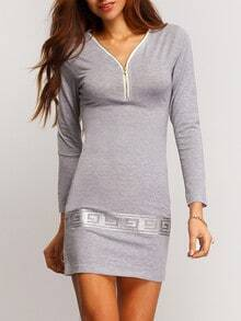 Grey V Neck Zipper Bodycon Dress