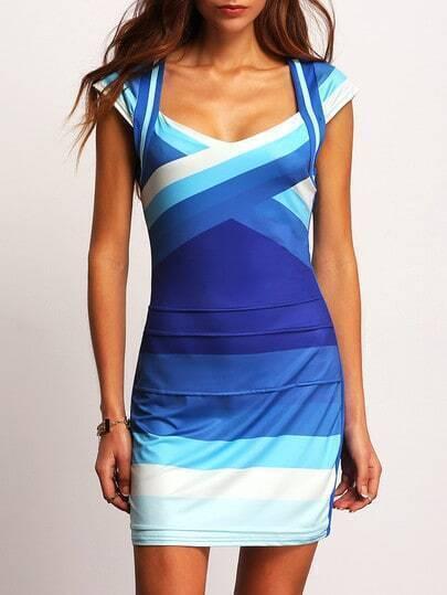 Ombre Cap Sleeve Bodycon Dress