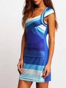 ombre cap sleeve bodycon dress sheinsheinside