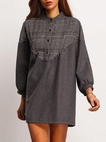 Grey Long Sleeve Houndstooth Loose Dress