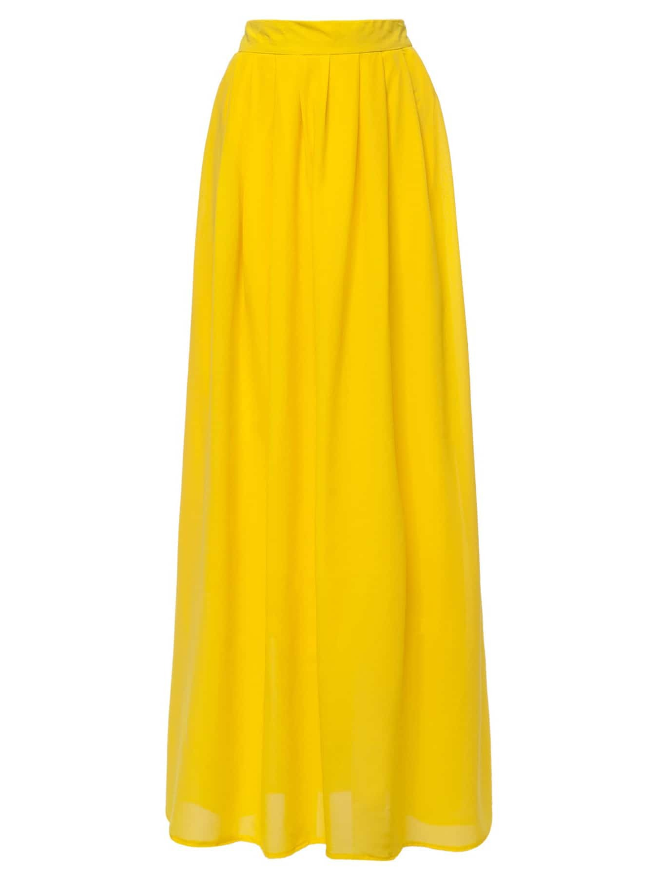 Yellow High Waist Maxi Skirt -SheIn(Sheinside)