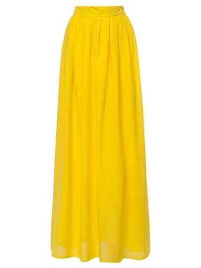 Yellow High Waist Maxi Skirt