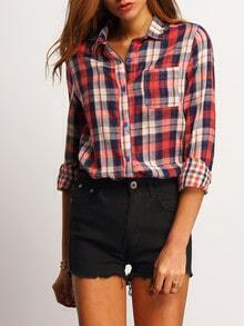Red Blue Lapel Plaid Pocket Blouse