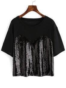 Black Short Sleeve Sequined Crop T-Shirt