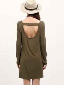 Green Cut Out Back Tshirt Dress