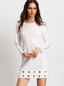 Beige Crew Neck Eyelet Shift Dress