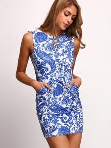Tribal Print Bodycon Dress With Pockets