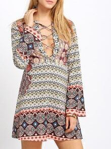Aztec Print Deep V Neck Dress