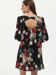 Black Cut Out Back Floral Dress