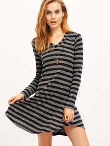 Grey Striped Ribbed Dress