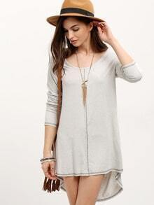 Grey Scoop Neck Dip Hem Dress