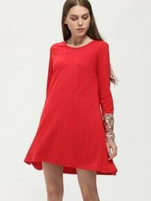 Red Contrast Sequined Cuff Dress