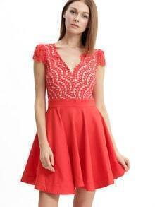 Red Cap Sleeve Lace Flare Dress
