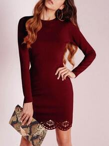 Burgundy Crew Neck Scallop Sheath Dress