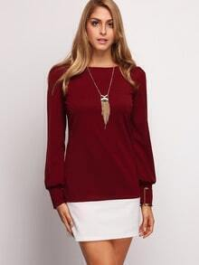 Burgundy Contrast Flounce Shift Dress