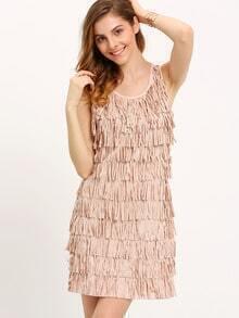 Nude Sleeveless Fringe Dress