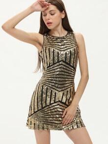 Gold Sleeveless Vertical Striped Dress