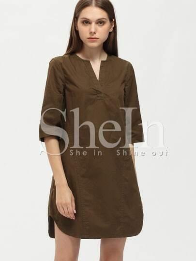 Khaki V Neck Shift Dress