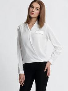 White Wrap Front Pockets Blouse