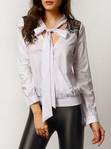 White Tie Neck Contrast Lace Blouse
