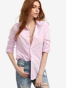 Pink Lapel Vertical Striped Blouse