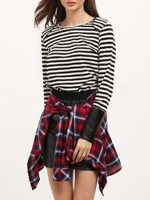 White Striped With PU Leather Cuff T-Shirt