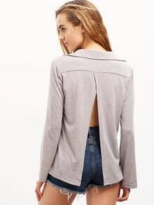 Grey Wrap Front Slit Back T-Shirt
