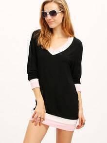 Black Color Block Trims T-Shirt