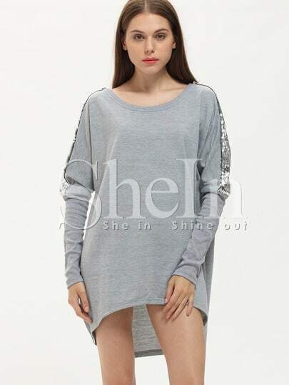 Grey Loose Asymmetric Sequined Dress