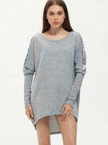 Grey Loose Asymmetric Sequined T-Shirt