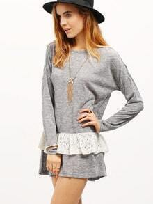 Grey Lace Layer Flounce T-Shirt