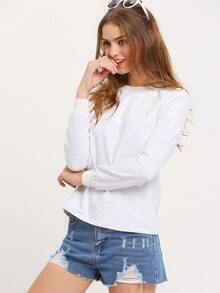 Grey Crew Neck With Lace T-Shirt