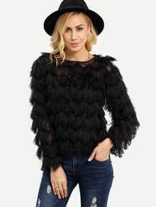 Black Faux Fur Feather Sweatshirt
