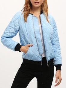 Blue Color Block Trims Bomber Jacket