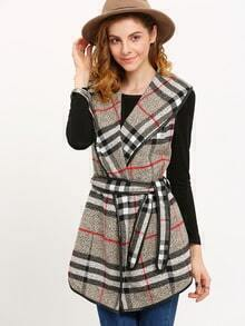 Plaid Shawl Collar Belted Sleeveless Coat