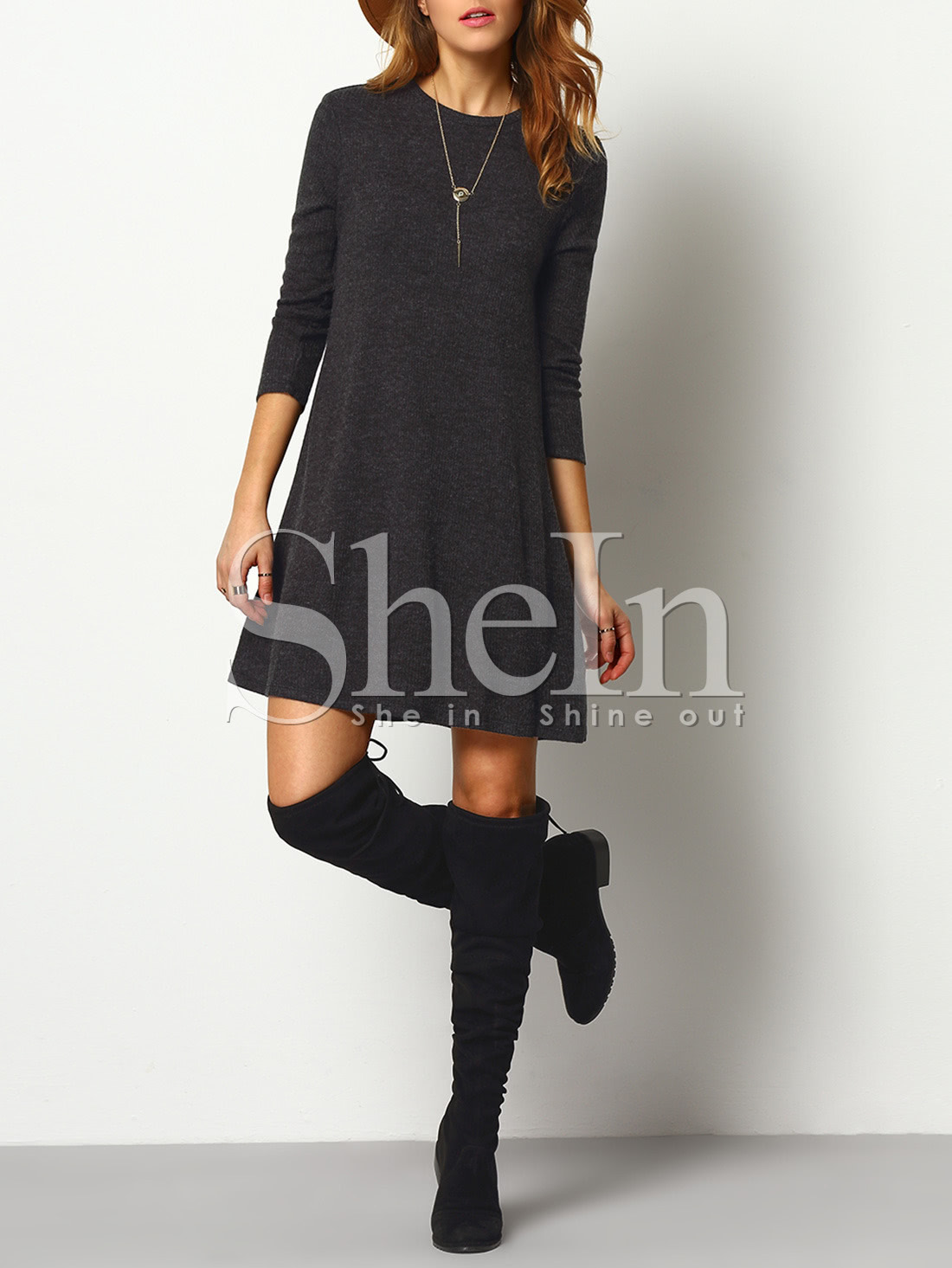 Crew Neck Casual Sweater Dress -SheIn(Sheinside)