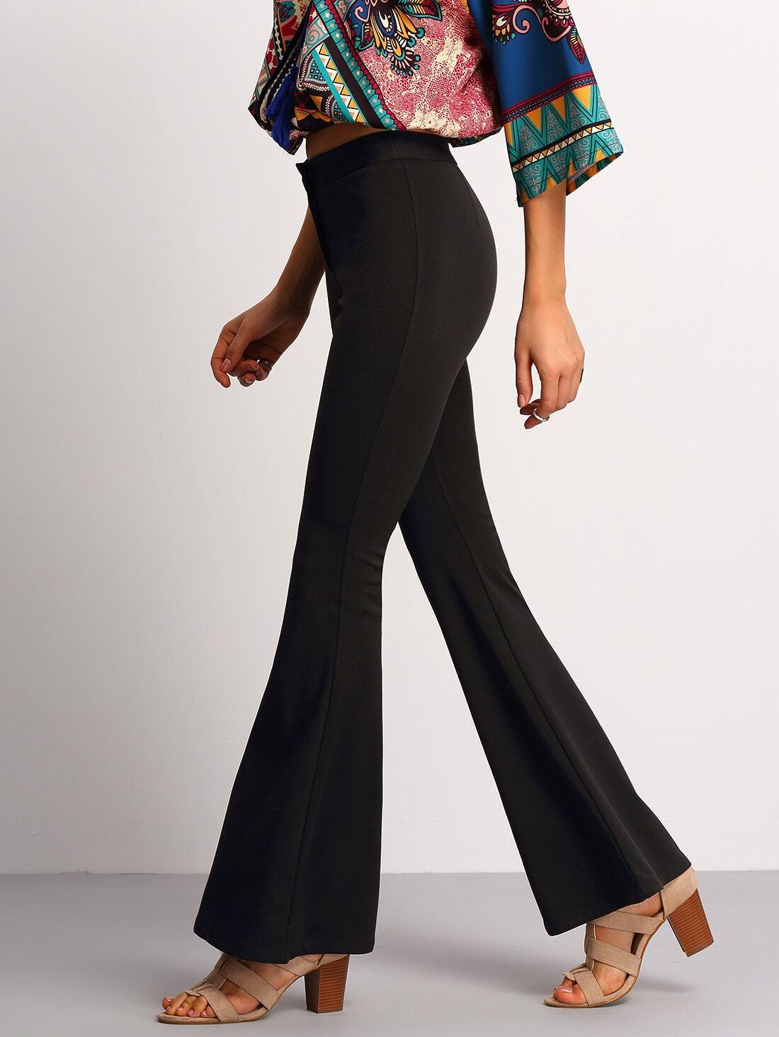 pantalon patte d 39 l phant taille lastique noir french shein sheinside. Black Bedroom Furniture Sets. Home Design Ideas