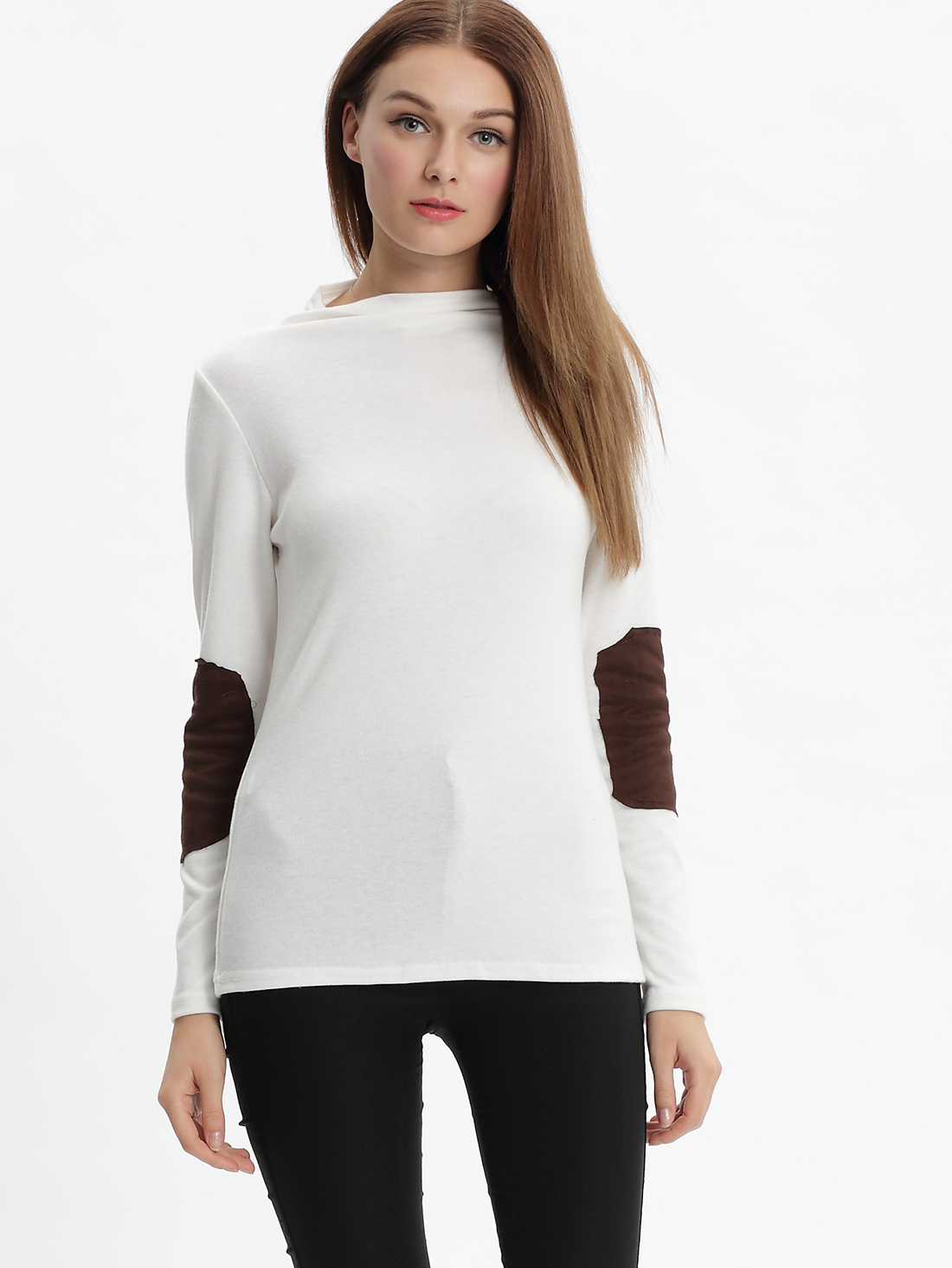 White long sleeve turtleneck t shirt shein sheinside for Turtleneck under t shirt