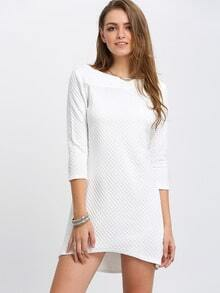 White Boat Neck Diamond Dress