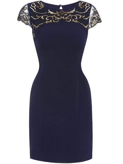 Navy Round Neck Short Sleeve Embroidered Dress